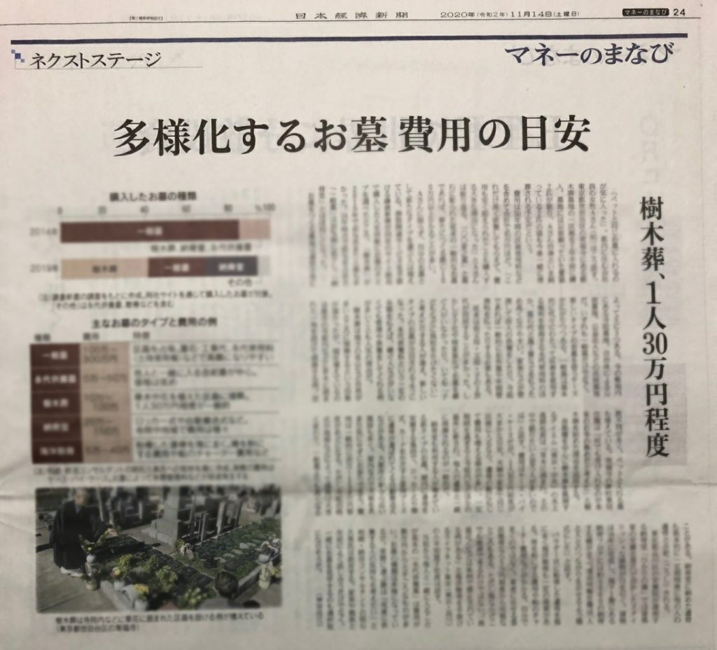 2020年11月14日 日本経済新聞_多様化するお墓費用の目安(明石久美コメント掲載)